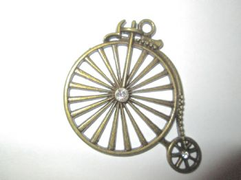 Bronze PENNY FARTHING/BICYCLE  Charm with rhinestones